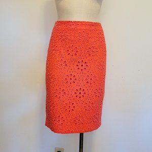 J. CREW No. 2 Pencil Skirt Floral Eyelet Coral 2